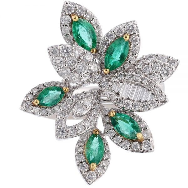 Nazar's 18K Two Tone Emerald and Diamond Ring