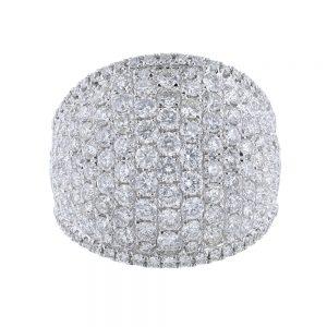 Nazar's 18k white gold diamond domed ring
