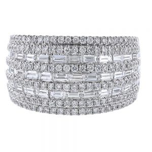 Nazar's 18K White gold diamond cocktail ring Baguette and Round