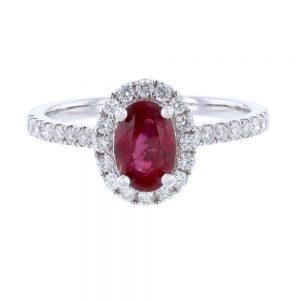 Nazar's No Heat Ruby and Diamond Ring