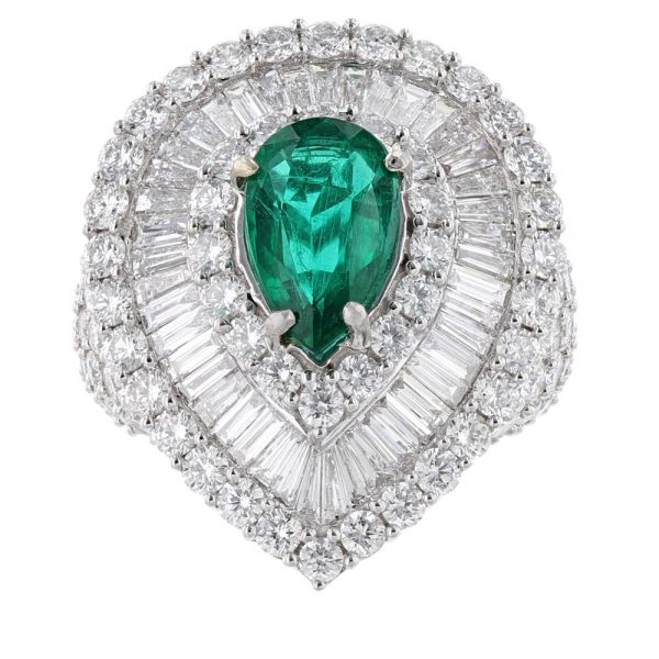 Nazar's Emerald and Diamond Cocktail Ring Pear
