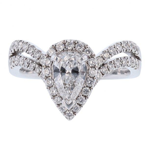 Nazar's Pear Diamond Halo Ring