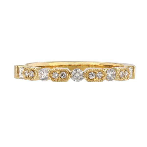nazar's yellow gold 18k diamond stackable wedding band