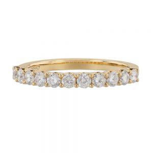 Nazar's 18k yellow gold diamond stackable wedding band
