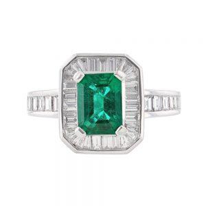 Nazar's Platinum Emerald and Diamond ring