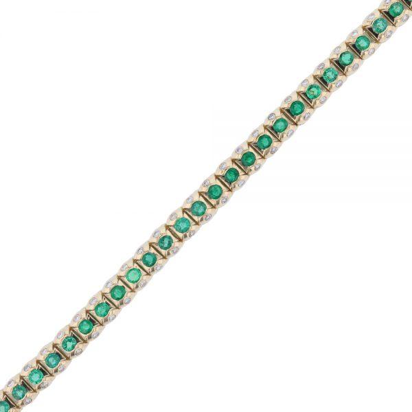 Nazar's 14k yellow gold emerald and diamond tennis bracelet