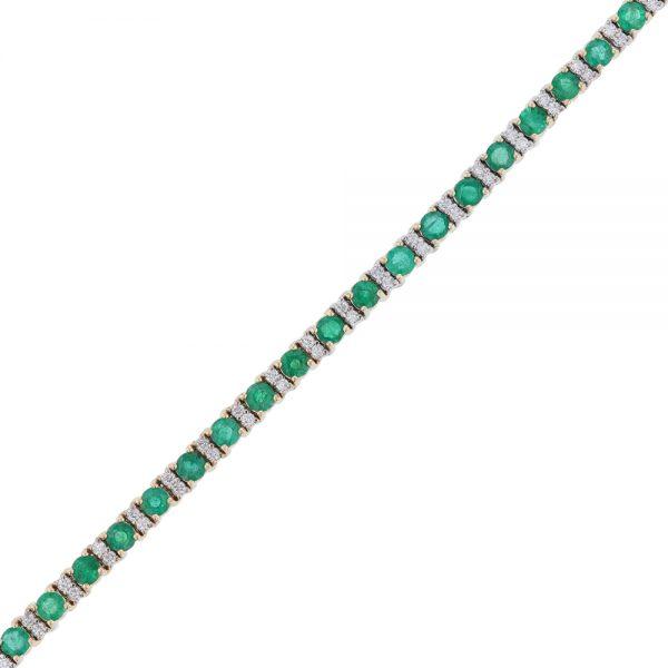 Nazar's 14k white yellow gold two tone emerald diamond tennis bracelet