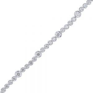 nazar's 18k white gold diamond bezel set tennis bracelet