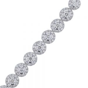 Nazar's 18k white gold diamond bezel halo tennis bracelet