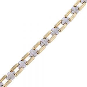 nazar's gold ladies link bracelet two tone 14k white yellow gold