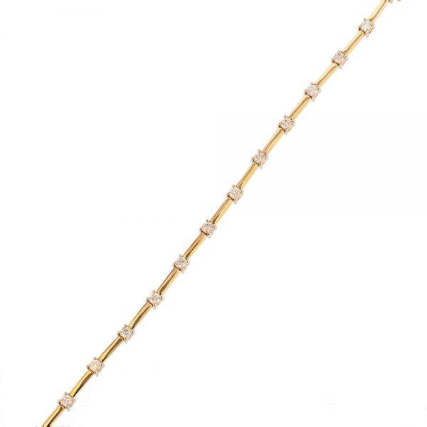 Nazar's Two tone 14k white yellow tennis bracelet seperated