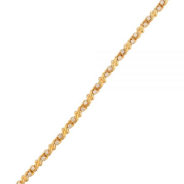 Nazar's 14k yellow gold diamond tennis bracelet swirl