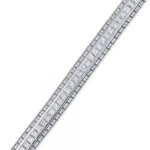 Nazar's diamond princess and round diamond tennis bracelet channel set