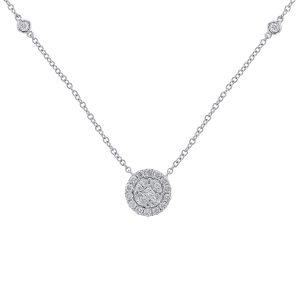 Nazarelle 18K White Gold Round Diamond Necklace