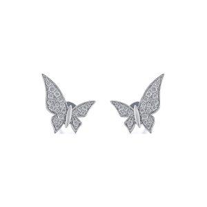 Butterfly White Diamond Stud Earrings