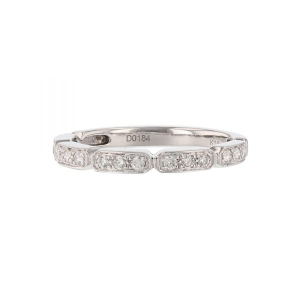 18K White Gold 15 Diamond Stackable Band