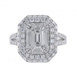 18K White Gold Nine Step Cut Diamond Ring