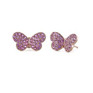 Rose Gold Butterfly Pink Sapphire Stud Earrings