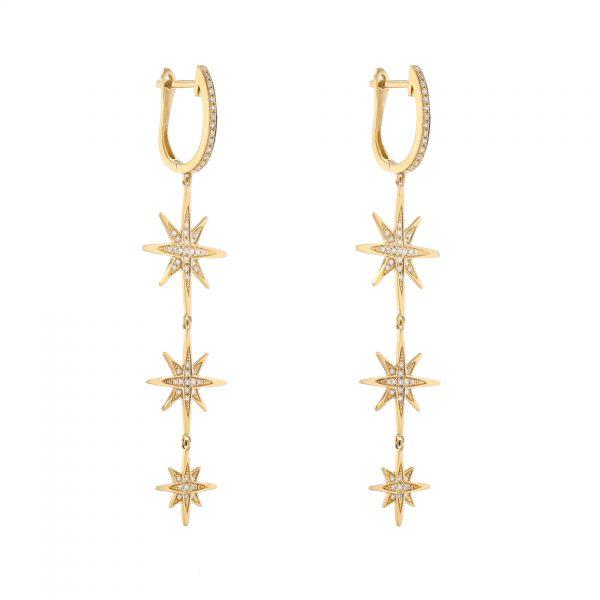 18K Yellow Gold Star Drop Diamond Earrings