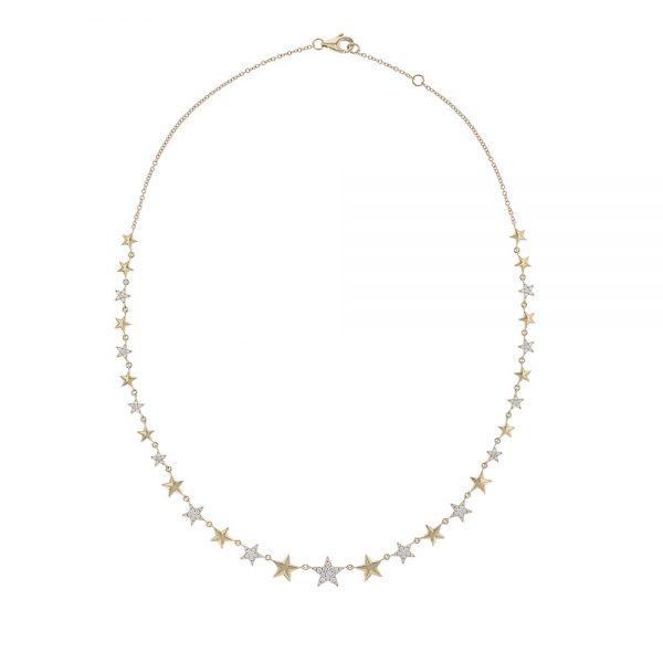18K Yellow Gold Diamond Multi-Star Necklace