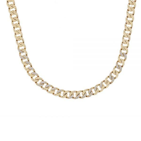 18K Yellow Gold Diamond Chain Necklace