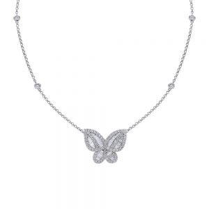 18K White Gold Diamond Butterfly Necklace