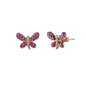 Rose Gold Butterfly Ruby Diamond Stud Earrings