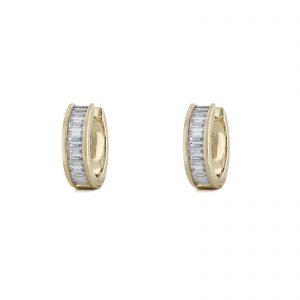 Mini Hoop Baguette Diamond Earrings