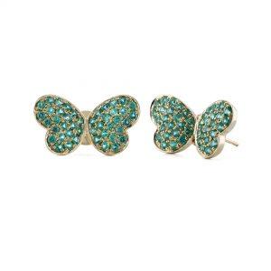 Butterfly Emerald Stud Earrings