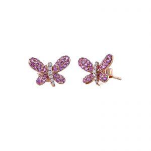 Butterfly Pink Sapphire Diamond Stud Earrings