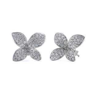 Four Petal Diamond Stud Earrings