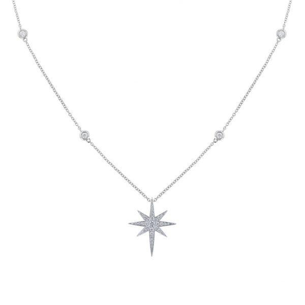 Diamond Starburst Necklace 18K White Gold