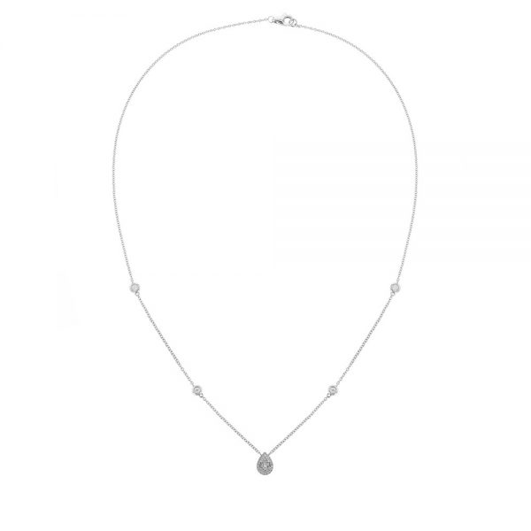18K White Gold Teardrop necklace with baguette and round cut diamonds
