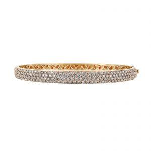 18K Yellow Gold Pave' Diamond Bangle