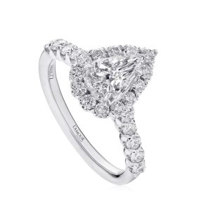 Pear Shaped Diamond Halo Engagement Ring