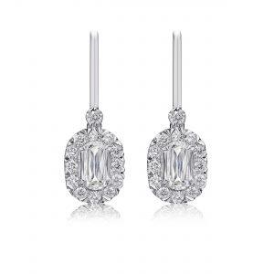 L'Amour Crisscut Diamond Halo Drop Earrings