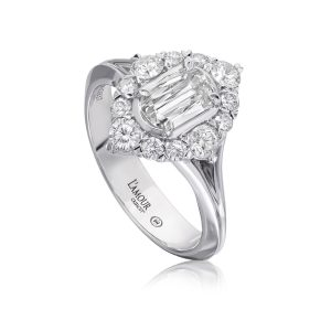 Christopher Designs Halo Diamond Smooth Shank Engagement Ring