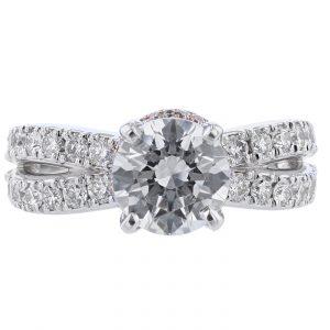 18K White & Rose Gold Diamond Engagement Ring