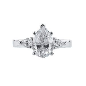 14K White Gold Pear Diamond Engagement Ring