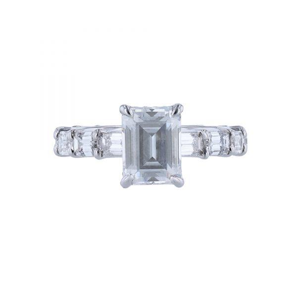 14K White Gold 12 Emerald Cut Diamond Ring