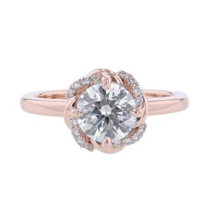 14K Rose Gold Flower Motif Diamond Ring