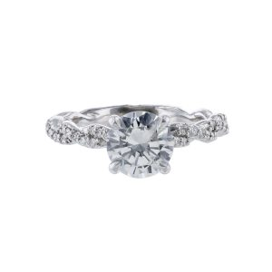 Nazarelle 14K Twisted Diamond Accented Under Halo Ring