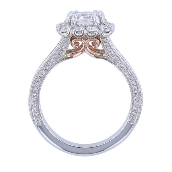 White & Rose Gold 52 Diamond Engagement Ring
