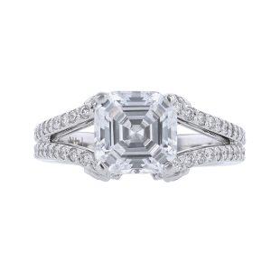 Nazarelle 14K White Gold 89 Diamond Engagement Ring