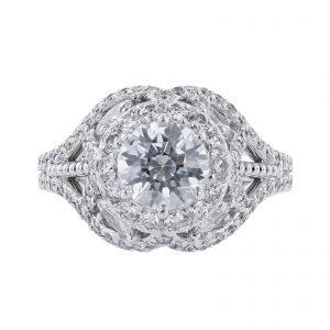 18K White Gold 4 Marquise Cut Diamond Ring