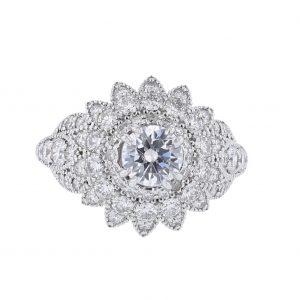14K White Gold 64 Diamond Engagement Ring