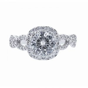 Cushion Halo Braided Twist Diamond Ring