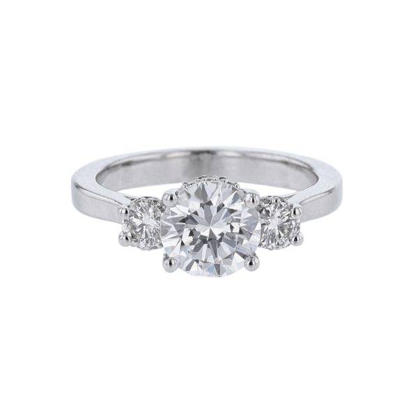 Nazarelle 14K White Gold Three-Stone Diamond Setting