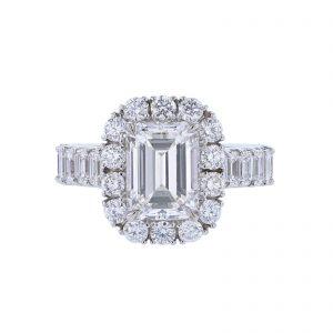 14K WG Certified Emerald Cut Diamond Ring