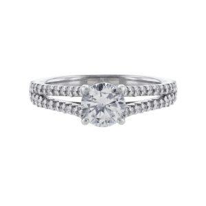 Nazarelle 14K Diamond Accented Thin Split Shank Ring